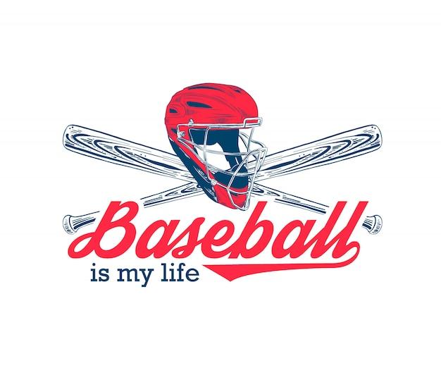 Sketch of baseball helmet and bat, typography