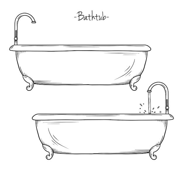 蛇口付きのお風呂をスケッチします。スケッチスタイルのイラスト。