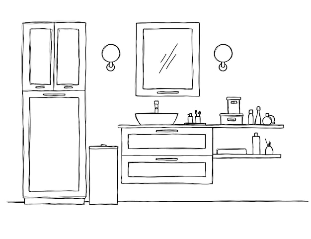 Sketch the bathroom. bathroom furniture and washbasin.