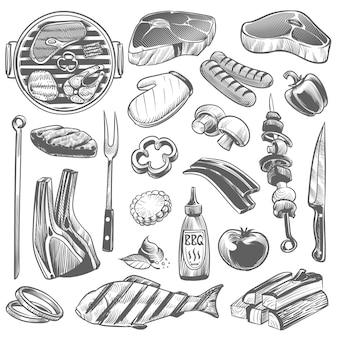 Sketch bbq design illustration