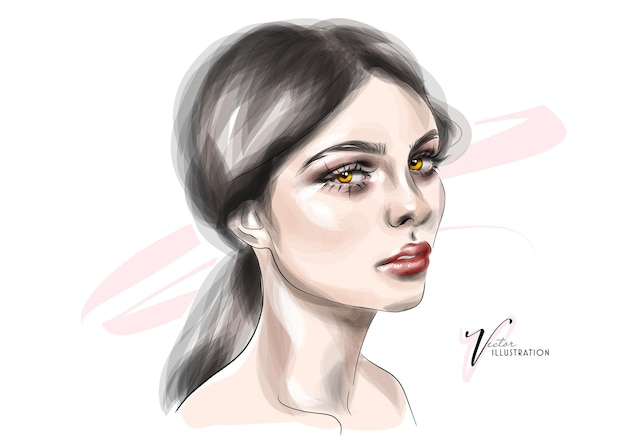 Sketch a beautiful girl with makeup