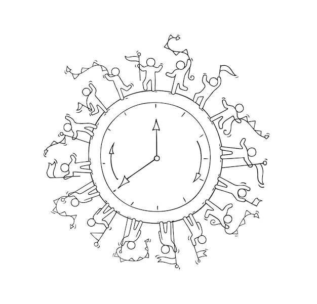 Sketch of big clock with working little people. doodle cute miniature scene about time. hand drawn cartoon illustration for business and education.