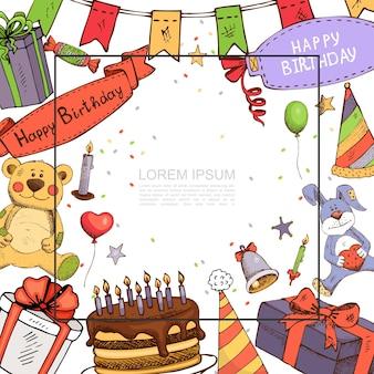 Эскиз шаблон вечеринки по случаю дня рождения с рамкой для текста, игрушки медведя и кролика, шляпа для торта, подарочные коробки, гирлянды, воздушные шары, свеча, колокольчик, конфеты, иллюстрация,