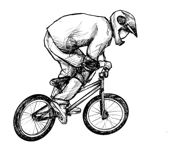 Sketch of bmx bicycle hand draw