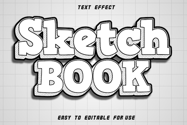 Sketch book editable text effect emboss modern style