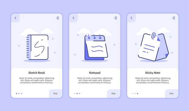 Sketch book notepad sticky note onboarding screen for mobile apps