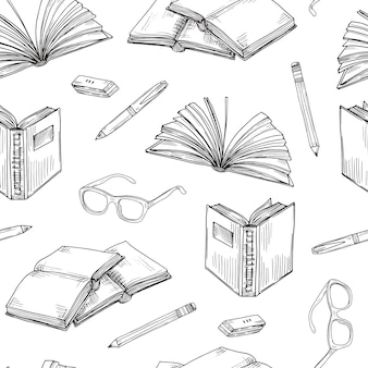 Sketch books seamless pattern.