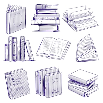Альбомы для зарисовок. винтажная рука рисунок кучу книги. библиотека литературных образовательных символов, набор тетрадей для гравировки эскиза