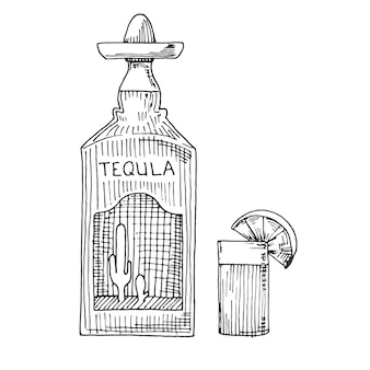 Sketch of a bottle of tequila, glasses with a slice of lime.