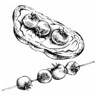 Эскиз брускетты на ломтик поджаренного багета