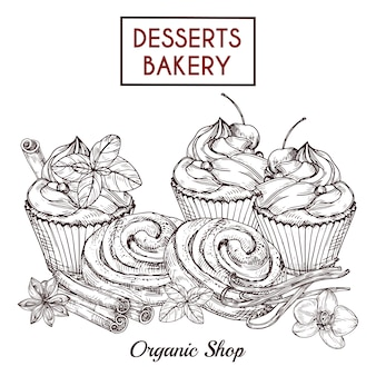 Sketch of buns and cakes and spices, desserts bakery  background