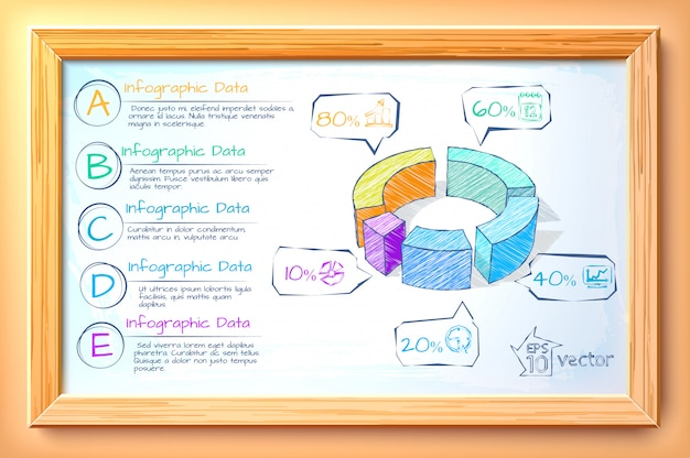 Sketch business infographic template with colorful diagram five options text and icons in wooden frame illustration