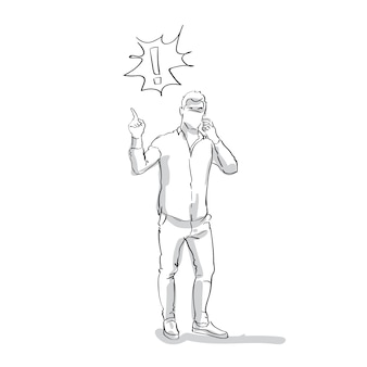 Sketch business man talking on smart phone having problem point finger to exclamation mark full length on white background