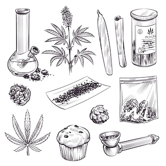 Sketch cannabis. cosmetic and medical plant marijuana leaves, weed joint and bong. cbd oil, vintage engraving hand drawn ganja engraved set