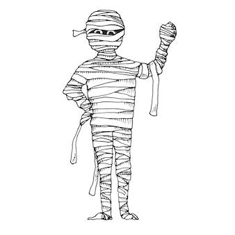 Sketch cartoon mummy.