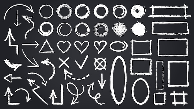 Sketch chalk elements. sketch chalkboard elements, hand drawn graphic arrows, frames, round and rectangle shapes   icons set. illustration round mark, cross tick rectangle shape sketch
