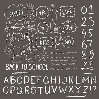 Sketch chalk set. hand drawn alphabet design, scratched style, back to school style
