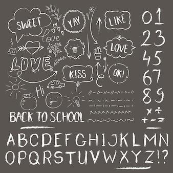 스케치 분필 세트. 손으로 그린 알파벳 디자인, 긁힌 스타일, 다시 학교 스타일
