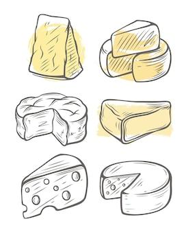 Эскиз сыра. различные виды сыров.
