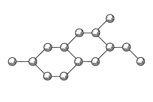 흰색 바탕에 화학 결합 아이콘을 스케치합니다. 벡터 일러스트 레이 션