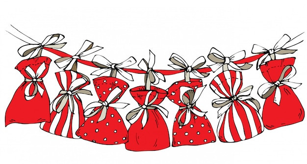 Sketch christmas advent calendar, small bags hanging on a ribbon.