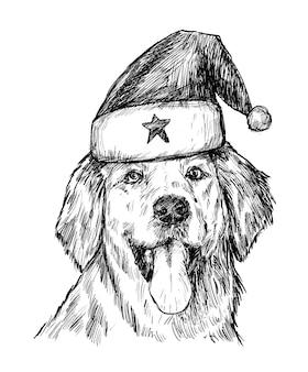 Sketch of christmas dog hand draw