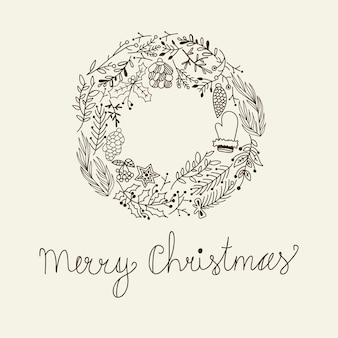 Sketch christmas floral wreath with greeting inscription tree branches cones mitten and holly berry illustration