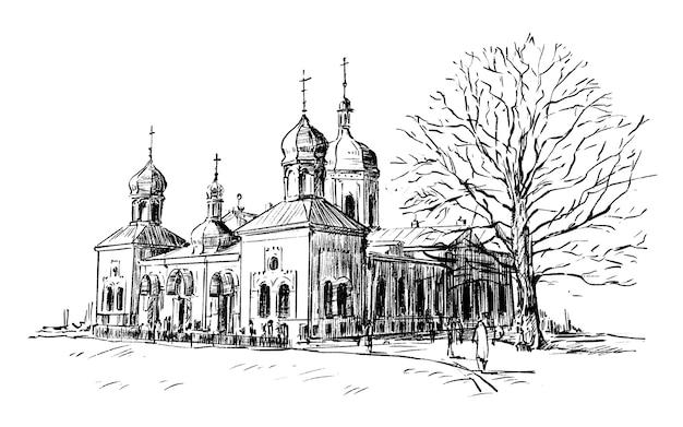 Sketch of church hand draw