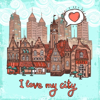 スケッチの都市の背景