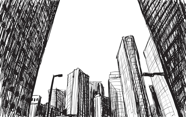 Sketch city scape building in tokyo hand draw illustration