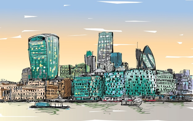 Эскиз городского пейзажа в лондоне, англия, показывает горизонт и здание на берегу реки темзы, иллюстрация