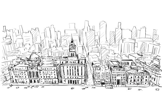 上海、中国、ダウンタウンの建物、フリーハンド描画イラストの街並みをスケッチ
