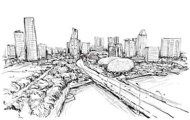 シンガポールのスカイラインの街並みをスケッチする