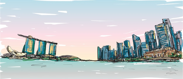 Sketch city scape of singapore skyline with marina bay and building landscape, free hand draw illustration