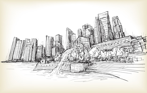 Sketch city scape of singapore skyline