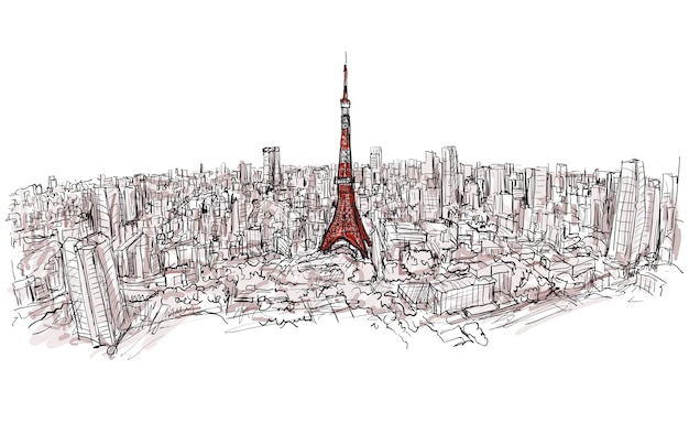 Sketch of city scape tokyo tower