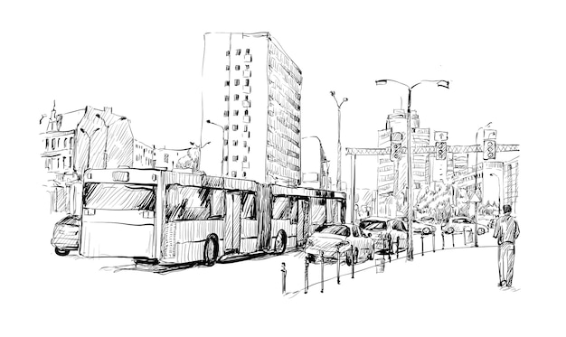 Sketch of cityscape in germany show traffic jam and sportation in berlin
