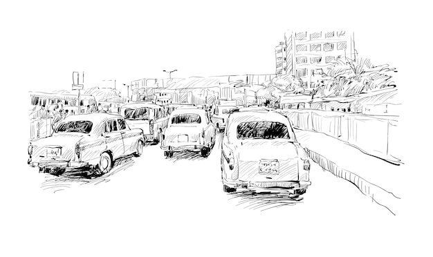 Sketch of cityscape in india show kolkata street on trafic jam, illustration