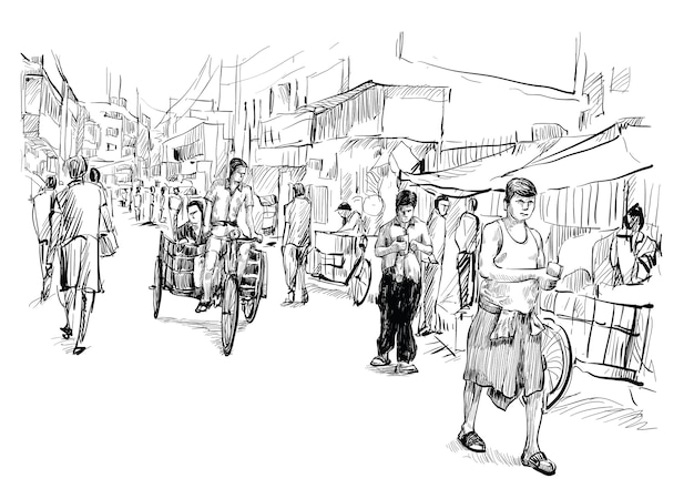 Sketch of cityscape in india show local street market and tricycle