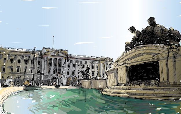 Sketch cityscape of london england, show buckingham palace public space, monuments fountain and old building, illustration
