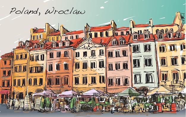 ポーランドの街並み、ヴロツワフ市、フリーハンド描画イラストをスケッチ