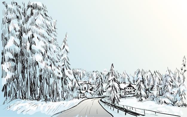 Эскиз городского пейзажа квебека, канада, показывает вид на снег и дома, рисование от руки