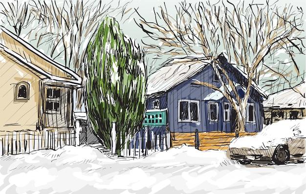 カナダ、ケベックの街並みをスケッチし、雪と家の景色を表示、フリーハンドでイラストを描く