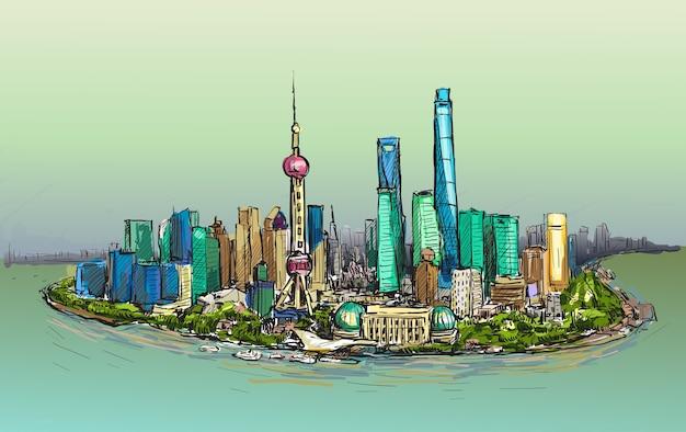 Эскиз городского пейзажа шанхая на фоне линии горизонта рисовать иллюстрацию свободной рукой