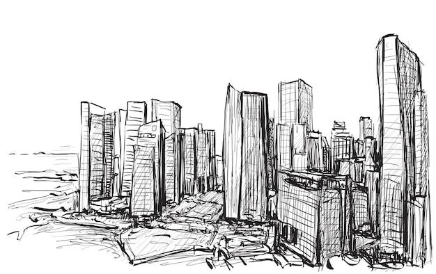 シンガポールの建物のスカイラインの街並みをスケッチする