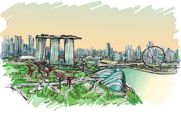 シンガポールのスカイラインの街並みをスケッチ、フリーハンド描画図