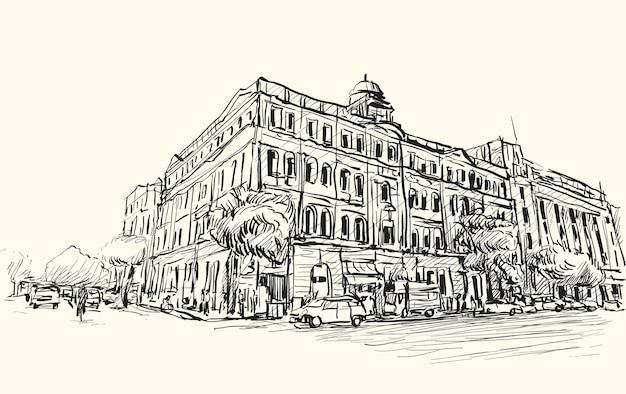 양곤 도시의 스케치 도시 풍경, 미얀마는 시내에서 투시도 식민지 건물을 보여줍니다, 무료 손 그리기 그림 벡터