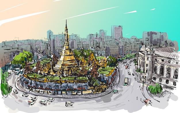 ミャンマー・ヤンゴンの街並みをトップビューシュエダゴンパゴダ、フリーハンド描画図にスケッチ