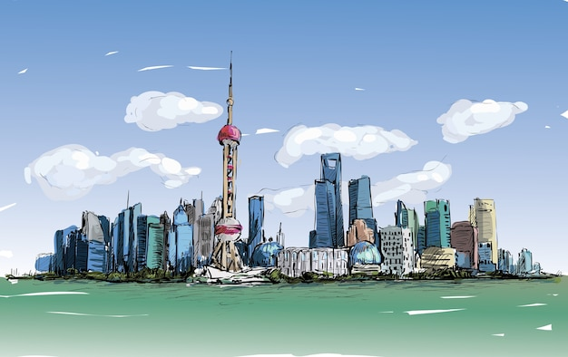 Sketch of cityscape in shanghai show architecture and bulding along river, illustration