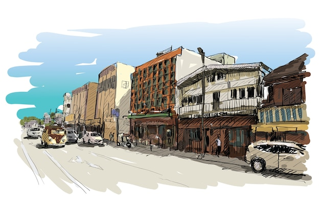 Sketch of cityscape show street and building in chiangmai, thailand, illustration